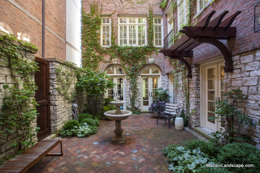 A french courtyard in downtown chicago in the garden for Courtyard stone landscape